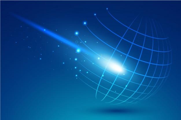 Sfera tecnologica di punti e curve Vettore Premium