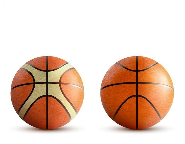 Sfere di pallacanestro messe isolate su bianco Vettore gratuito