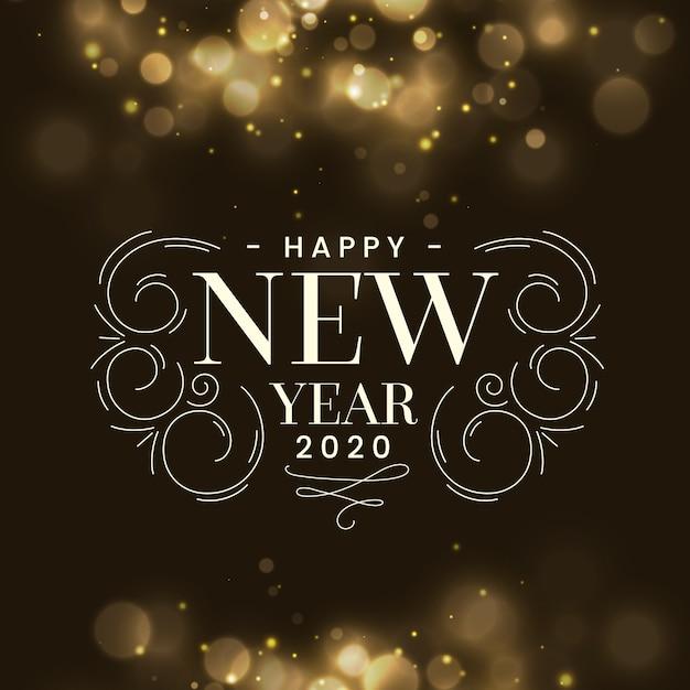 Sfocato nuovo anno 2020 Vettore gratuito