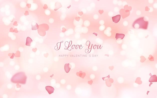 Sfocato sullo sfondo di san valentino rosa Vettore gratuito