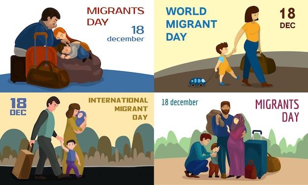 Sfondi di giornata mondiale dei migranti Vettore Premium