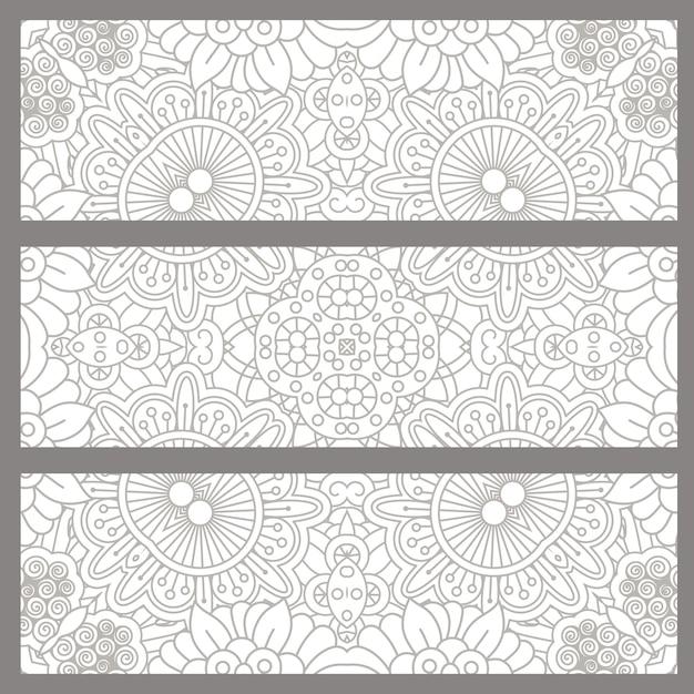 Sfondi doodle orizzontale con design etnico Vettore Premium