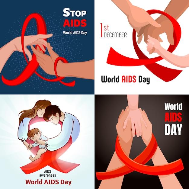 Sfondi per la giornata mondiale dell'aids Vettore Premium