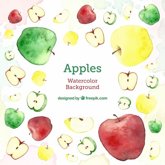 Sfondo 'delizioso' con diversi tipi di mele Vettore gratuito