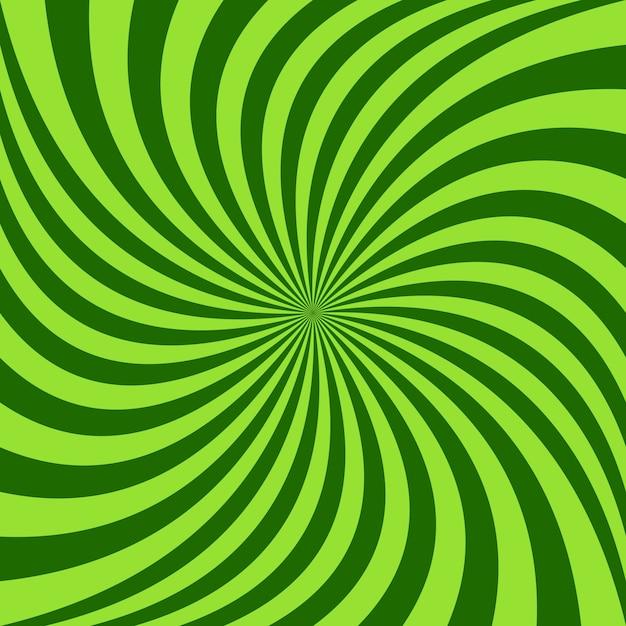 Sfondo a raggi spirali - disegno vettoriale dai raggi ruotati di verde Vettore gratuito