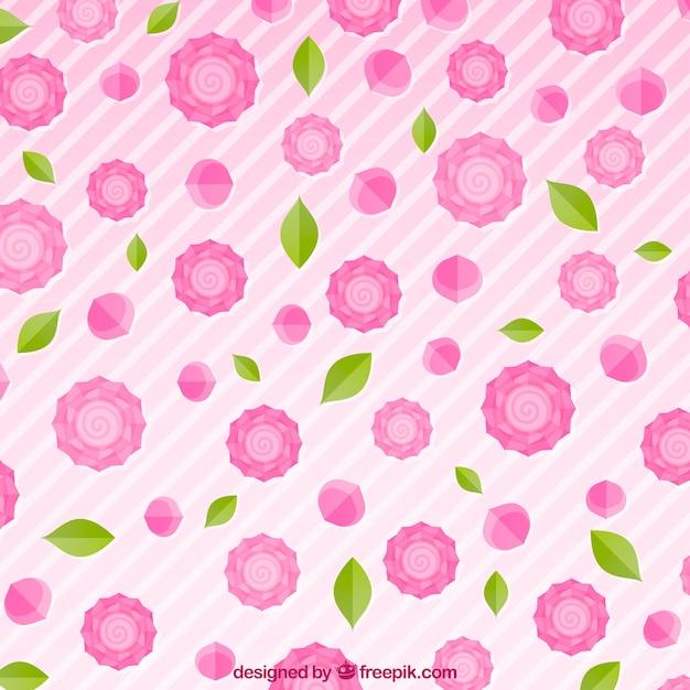 Sfondo A Righe Con Rose Rosa Scaricare Vettori Gratis
