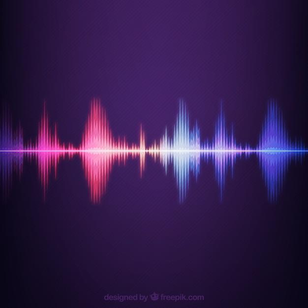 Sfondo a strisce con onde sonore colorate Vettore gratuito