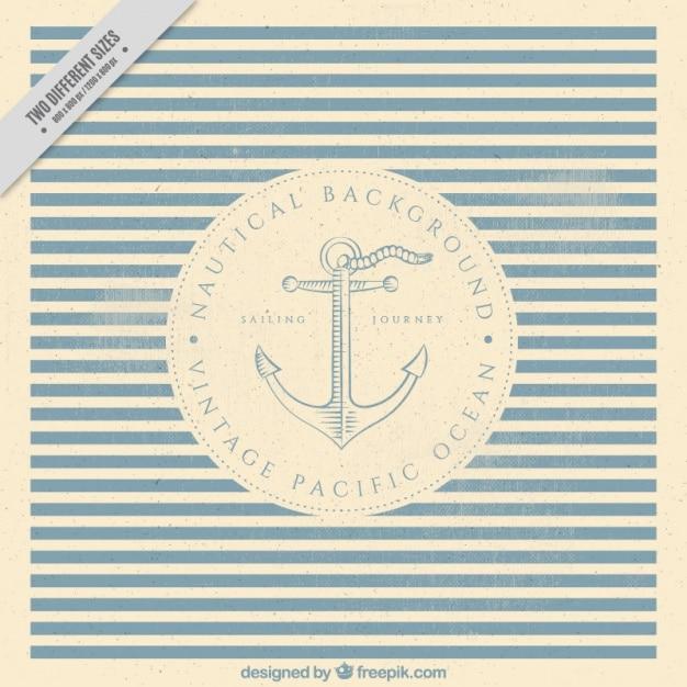 Sfondo a strisce nautico con l'ancora in stile vintage Vettore gratuito