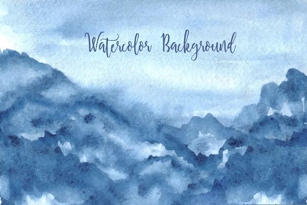 Sfondo acquerello cielo blu Vettore Premium