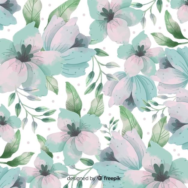 Sfondo acquerello con bellissimi fiori Vettore gratuito
