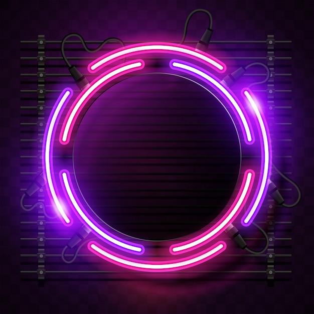 Sfondo al neon arrotondato Vettore Premium