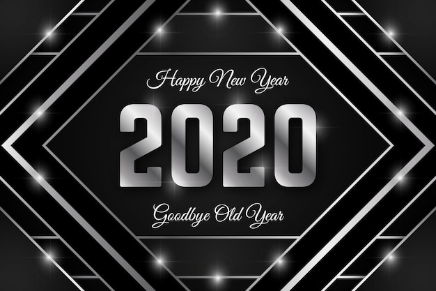 Sfondo argento nuovo anno 2020 Vettore gratuito