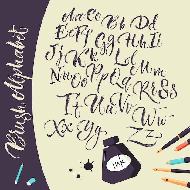 Sfondo artistico con penne a inchiostro e alfabeto Vettore gratuito