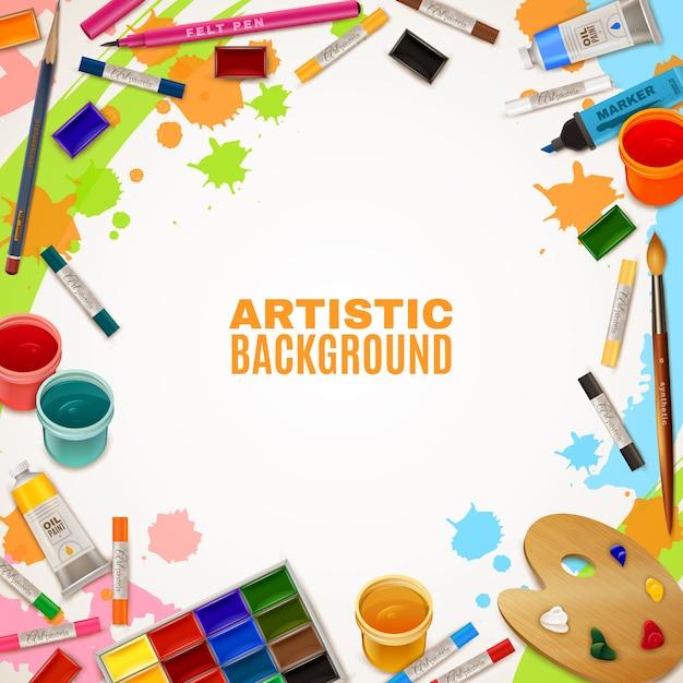 Sfondo artistico con strumenti per dipinti Vettore gratuito