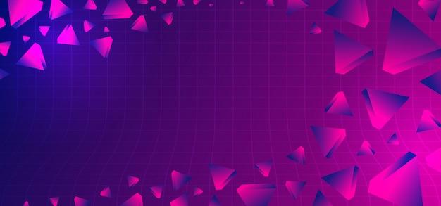 Sfondo astratto anni 80 con colori geometrici ultra violetti Vettore Premium
