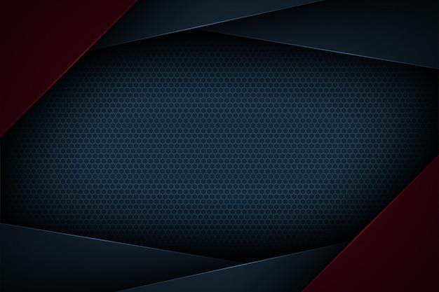 Sfondo astratto blu scuro con caratteristiche sovrapposte. Vettore Premium