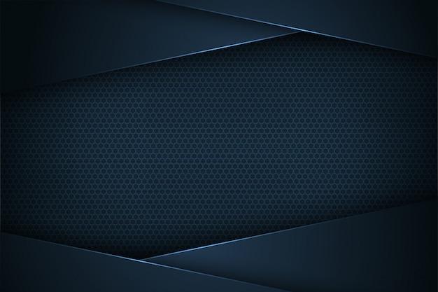 Sfondo astratto blu scuro vettoriale con caratteristiche sovrapposte. Vettore Premium