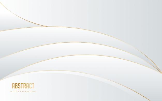 Sfondo astratto colore bianco e grigio con linea colore dorato. Vettore Premium