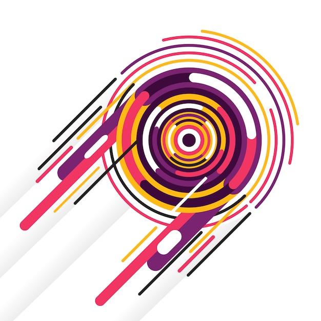 Sfondo astratto con cerchio colorato e forme arrotondate Vettore Premium