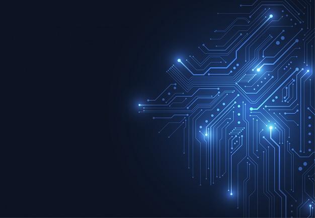 Sfondo astratto con circuito di tecnologia Vettore Premium