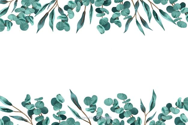 Sfondo astratto con cornice di foglie Vettore gratuito