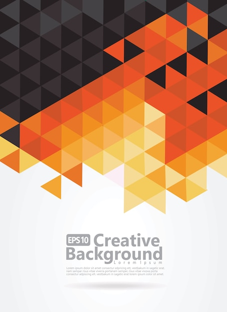 Sfondo astratto con motivo nero, arancione e giallo di triangoli. spazio per il testo. Vettore Premium