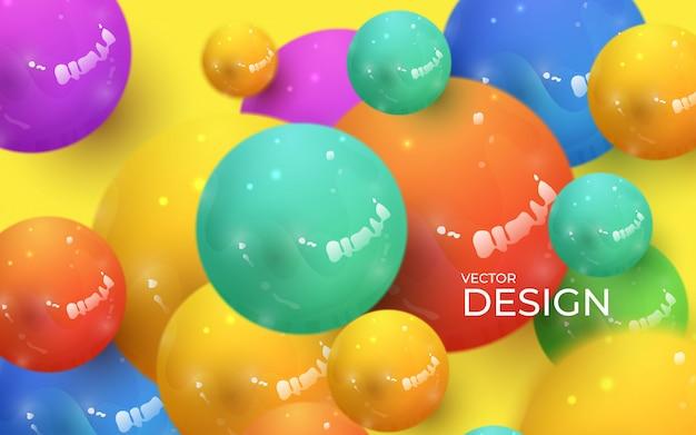 Sfondo astratto con sfere 3d dinamiche. bolle colorate pastello di plastica. Vettore Premium