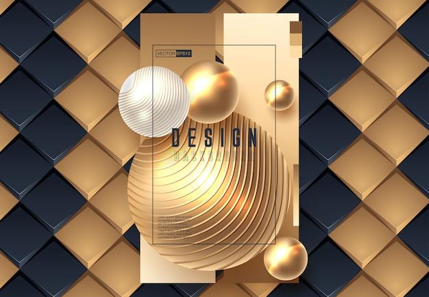 Sfondo astratto con sfere in oro e colore nero Vettore Premium