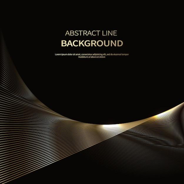 Sfondo astratto di linee d'oro di lusso Vettore Premium