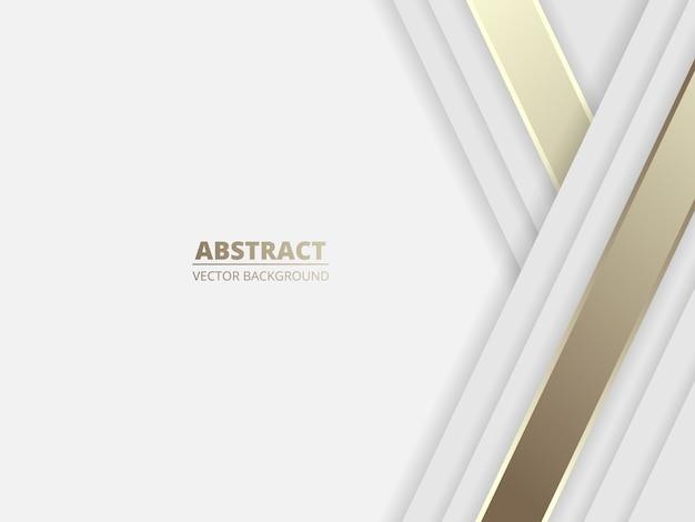 Sfondo astratto di lusso bianco con linee dorate e ombre. Vettore Premium