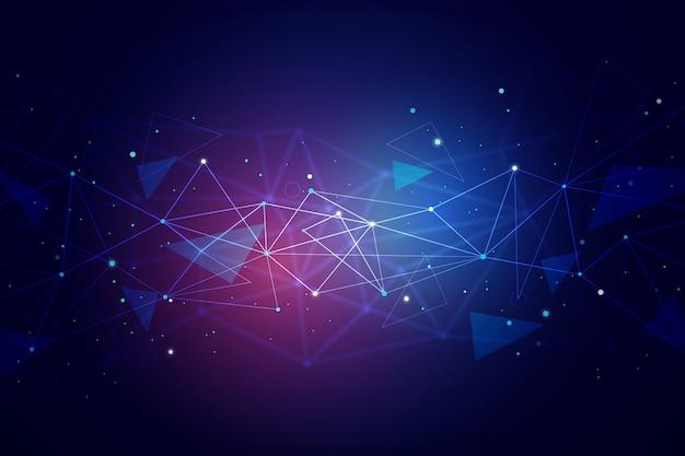 Sfondo astratto di particelle di tecnologia Vettore gratuito