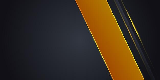 Sfondo astratto grigio scuro con linea di luce gialla su spazio vuoto. Vettore Premium