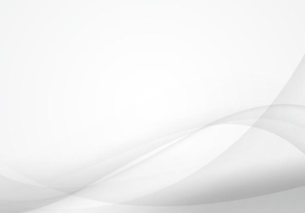 Sfondo astratto onda bianco e grigio. design morbido per lavori grafici Vettore Premium