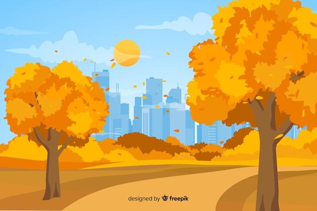 Sfondo autunno design piatto con foglie Vettore gratuito