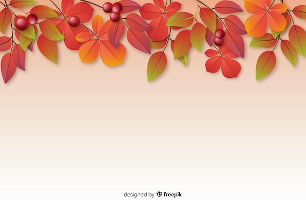 Sfondo autunno realistico con foglie Vettore gratuito