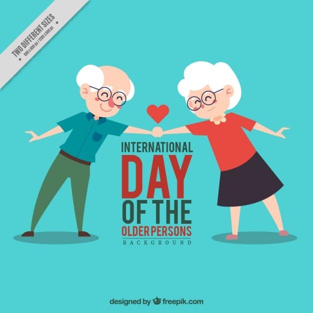 Sfondo bella coppia di anziani si stringono la mano Vettore gratuito