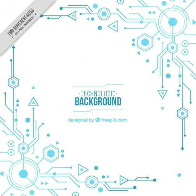 Sfondo bianco con circuiti blu Vettore gratuito
