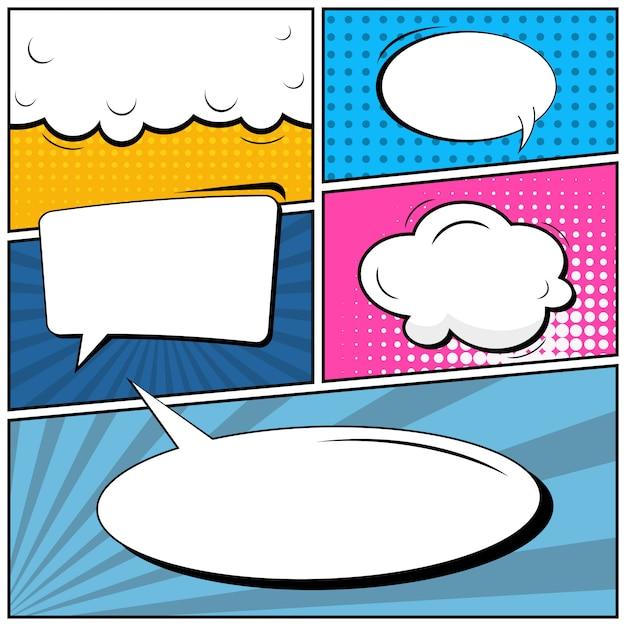 Sfondo bianco di stile comico pop art. Vettore Premium