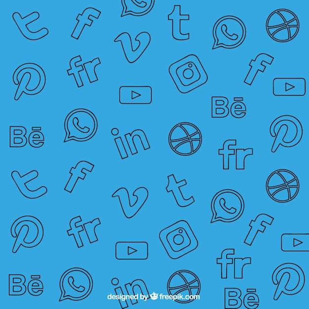 Sfondo blu con decorativi social network icone Vettore gratuito