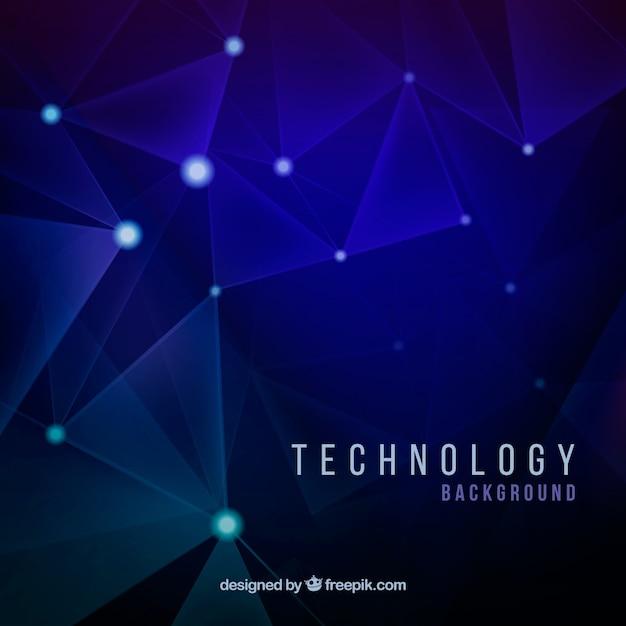 Sfondo blu con forme lucide e collegamenti tecnologici Vettore gratuito