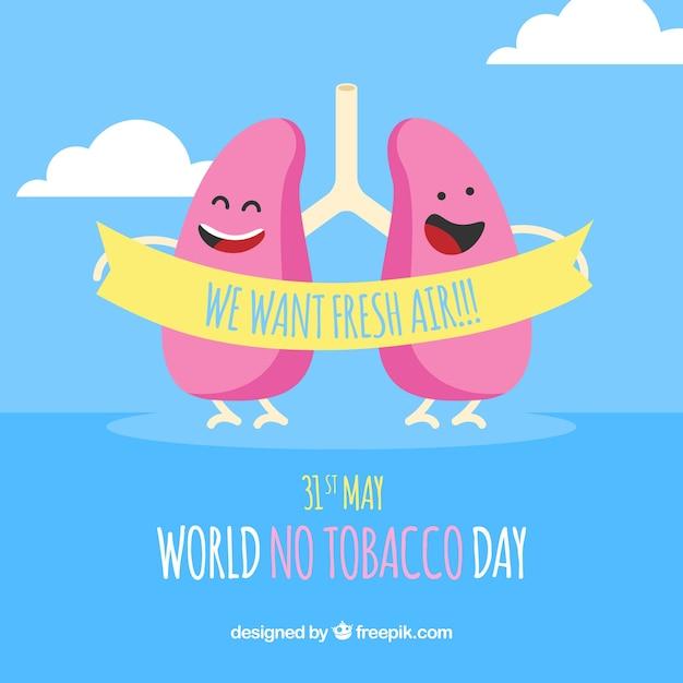 Sfondo blu con i polmoni felici Vettore gratuito