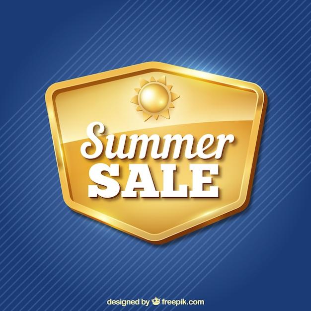 Sfondo blu con insegne d'oro di vendite estive Vettore gratuito