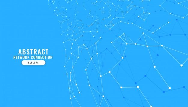 Sfondo blu con linee e punti di collegamento Vettore gratuito