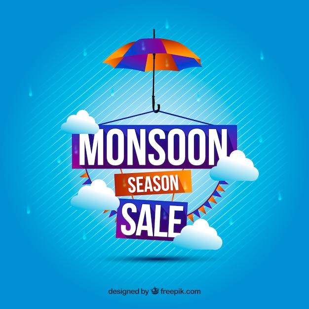Sfondo blu di vendita di monsone Vettore gratuito