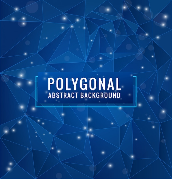 Sfondo blu poligono con punti e linee geometriche Vettore Premium