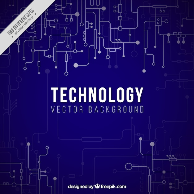 Sfondo blu scuro con collegamenti tecnologici Vettore gratuito