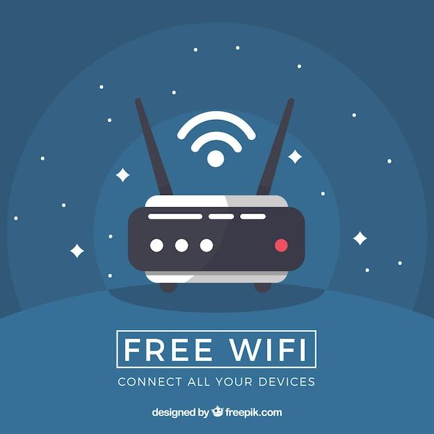 Sfondo blu scuro con router in design piatto Vettore gratuito