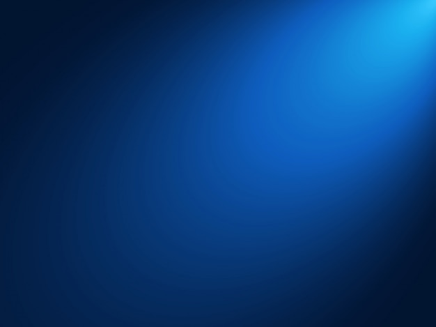 Sfondo blu sfumato con luce spot effetto brillante dall'angolo Vettore Premium
