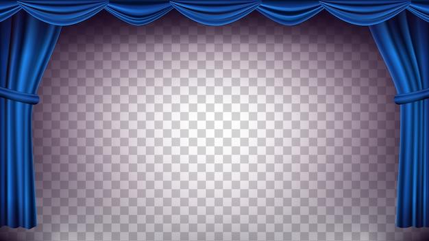 Sfondo blu teatro tenda. sfondo trasparente per concerti, teatro. opera o cinema palco di seta vuoto, scena blu. illustrazione realistica Vettore Premium