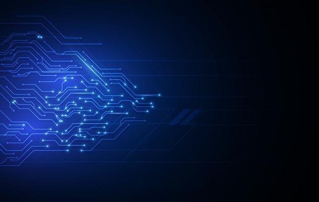 Sfondo blu tecnologia con schema elettrico Vettore Premium
